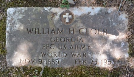 CLOER (VETERAN WWI), WILLIAM H. - Towns County, Georgia   WILLIAM H. CLOER (VETERAN WWI) - Georgia Gravestone Photos